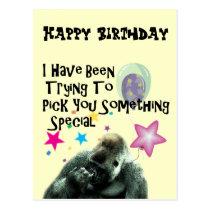 nose picking funny gorilla birthday postcard