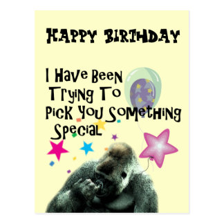 nose picking funny gorilla birthday postcard