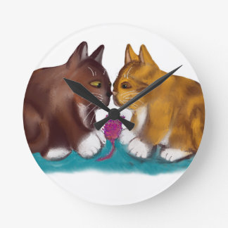 Nose to Nose over the Mouse Toy Round Clocks