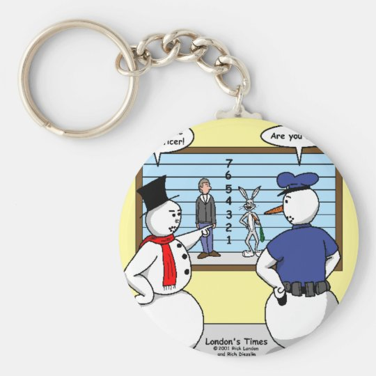 Noseless Snowman Bunny Suspect Gifts & Tees Keychain