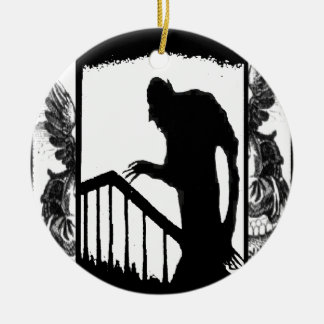 Nosferatu-shadow on the stairs Double-Sided ceramic round christmas ornament