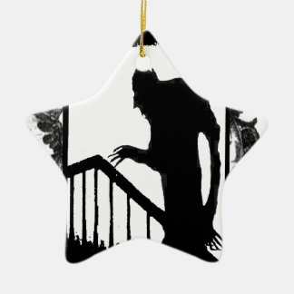 Nosferatu-shadow on the stairs Double-Sided star ceramic christmas ornament
