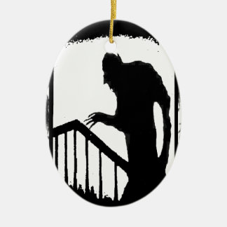Nosferatu-shadow on the stairs Double-Sided oval ceramic christmas ornament