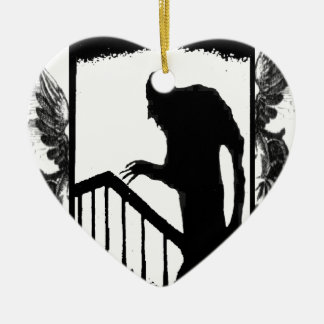 Nosferatu-shadow on the stairs Double-Sided heart ceramic christmas ornament