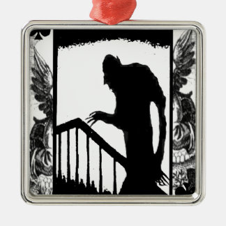 Nosferatu-shadow on the stairs square metal christmas ornament