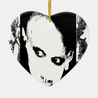 Nosferatu the playing card Double-Sided heart ceramic christmas ornament