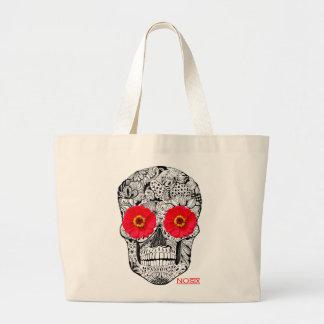 NOsix Skull and Red Flower Fresh Design Bolsa Tela Grande