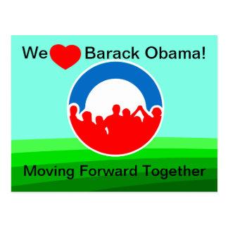 Nosotros corazón Barack Obama-Que mueve Junto-Voto Tarjetas Postales
