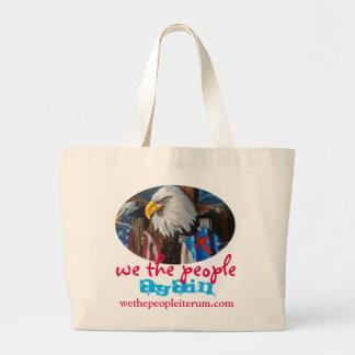 nosotros de la gente el diseño del águila otra vez bolsa de tela grande