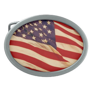 nosotros el agitar de la bandera hebilla de cinturon oval