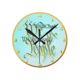 Nosotros Gente-en el oro Wallclock Reloj Redondo Mediano
