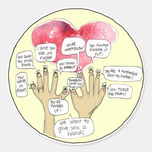 Nosotros guante usted dedos del dibujo animado de pegatina redonda