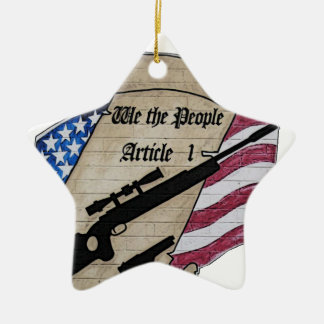 (Nosotros la gente) 2dos armas de la enmienda del Adorno Navideño De Cerámica En Forma De Estrella