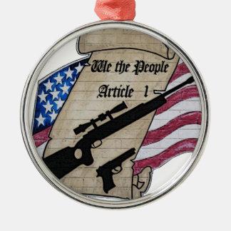 (Nosotros la gente) 2dos armas de la enmienda del Adorno Navideño Redondo De Metal