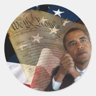 Nosotros la gente… Barack Obama y la constitución Pegatina Redonda