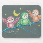 Nosotros tres búhos mousepad