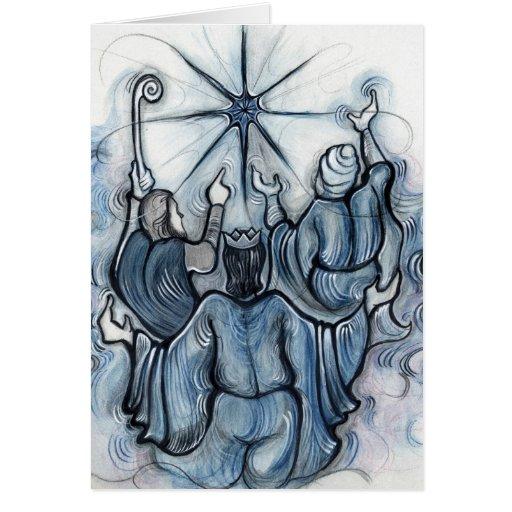 Nosotros tres tarjeta de Navidad de los reyes
