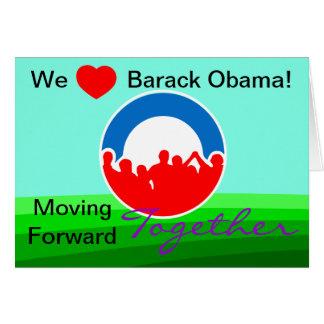 Nosotros voto de Barack Obama del corazón en Tarjeta De Felicitación