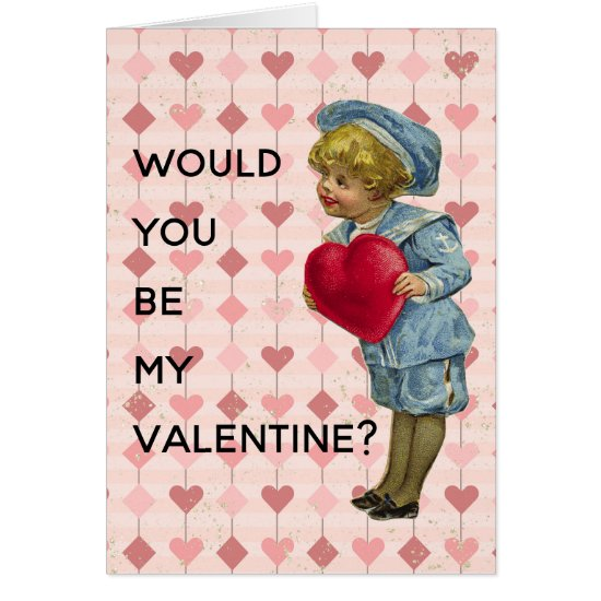 Nostalgc Boy in Blue With Red Heart Valentine Card