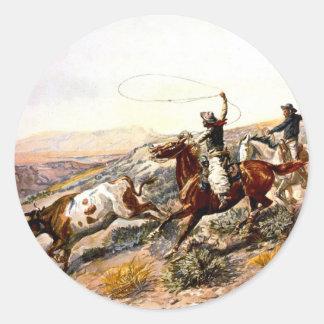 Nostalgia occidental pegatina redonda