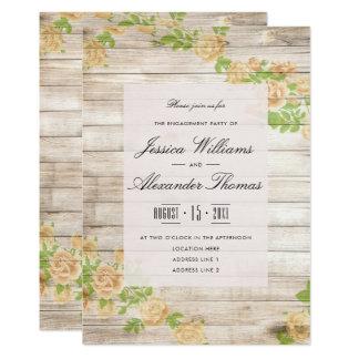 Nostalgic Apricot Roses On Wood Engagement Invitation
