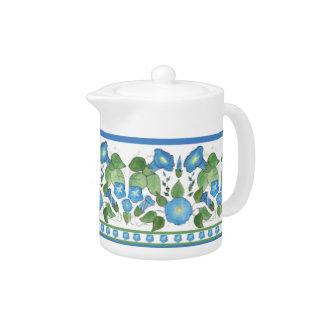 Nostalgic Blue Morning Glory Border China Teapot