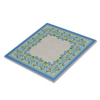 Nostalgic Blue Morning Glory Ceramic Tile