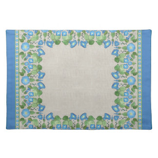 Nostalgic Blue Morning Glory Cloth Placemat