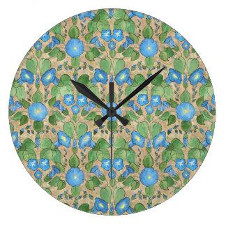 Nostalgic Blue Morning Glory Round Wall Clock