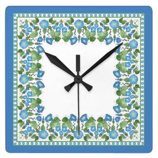 Nostalgic Blue Morning Glory Square Wall Clock