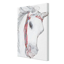 Nostalgic Carousel Horse Colored Pencil Drawing Canvas Print