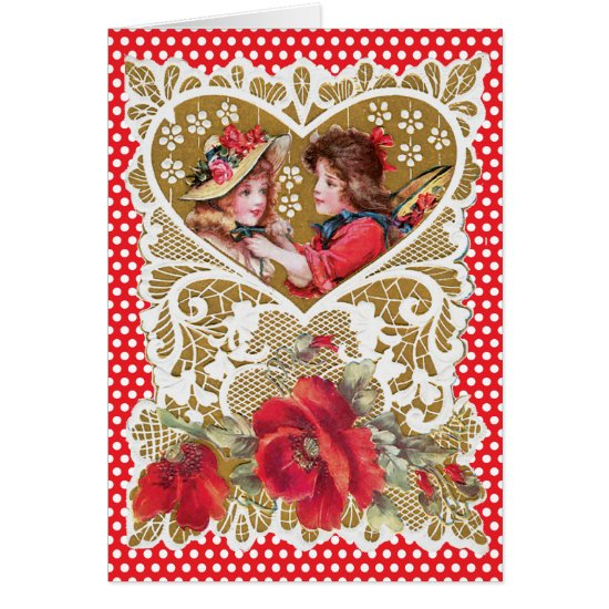 Nostalgic Child Gold Heart Red Dots Valentine Card