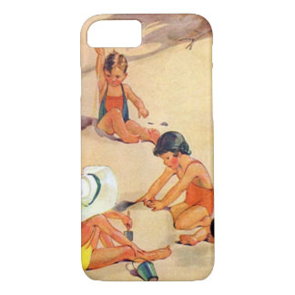 Nostalgic Children Playing in the Sand iPhone 8/7 Case