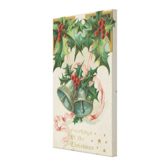 Nostalgic Christmas Bells and Holly Canvas Print