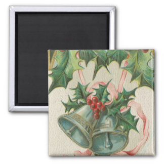 Nostalgic Christmas Bells and Holly Magnet