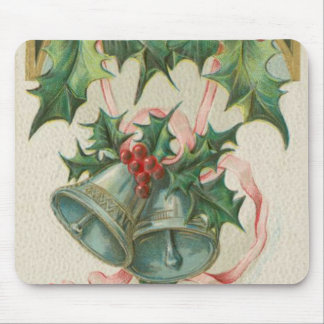 Nostalgic Christmas Bells and Holly Mouse Pad