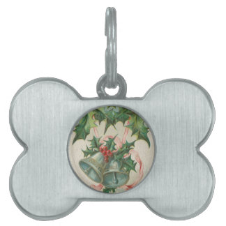 Nostalgic Christmas Bells and Holly Pet Name Tag