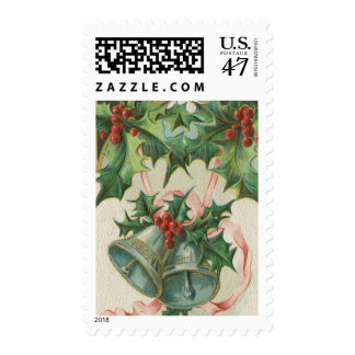 Nostalgic Christmas Bells and Holly Postage