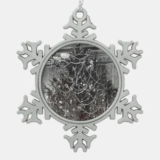 Nostalgic Christmas Tree Snowflake Pewter Christmas Ornament