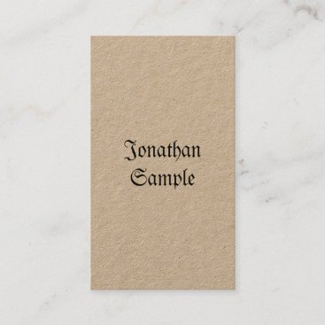 Nostalgic Classic Vintage Real Kraft Vertical Luxe Business Card