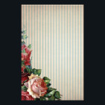 "Nostalgic Country Roses and Background Stripes Stationery<br><div class=""desc"">Nostalgic aged feel. Background has vertical stripes of a light blue and aged cream. Bottom left is a cluster of gorgeous roses. Art work from original digital curio at etsy</div>"