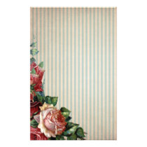 Nostalgic Country Roses and Background Stripes Stationery