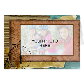 Nostalgic Cycling Themed Photo Card