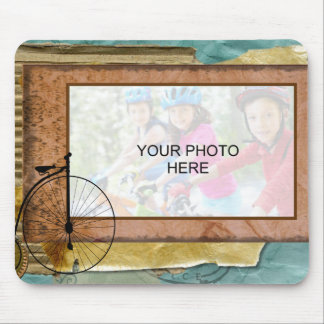 Nostalgic Cycling Themed Photo Mouse Pad