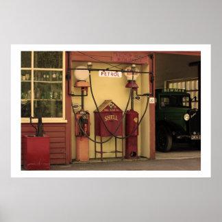 Nostalgic Gas Station Poster