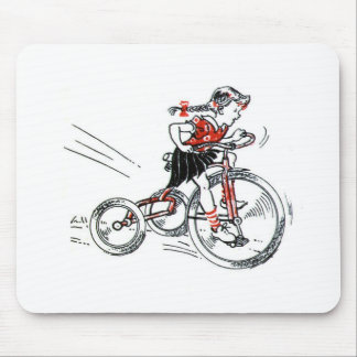 Nostalgic Girl on Tricycle Mouse Pad