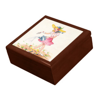 Nostalgic Girl with Watering Can Gift Box