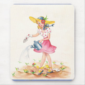 Nostalgic Girl with Watering Can Mouse Pad