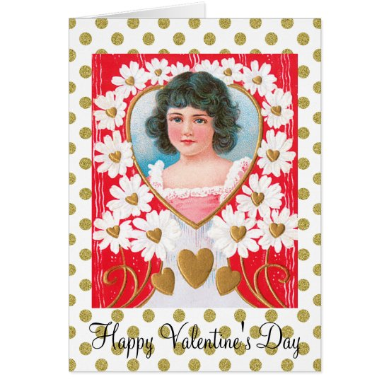 Nostalgic Golden Hearts and White Daisies Card