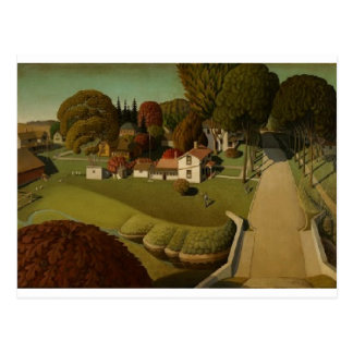 Nostalgic Grant Woods Painting Postcard